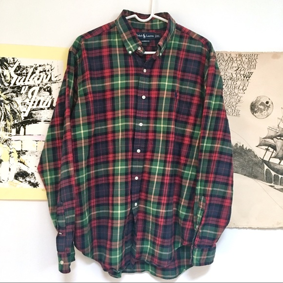 ad2655b1 Ralph Lauren Shirts | Classic Greenred Plaid Flannel Shirt | Poshmark
